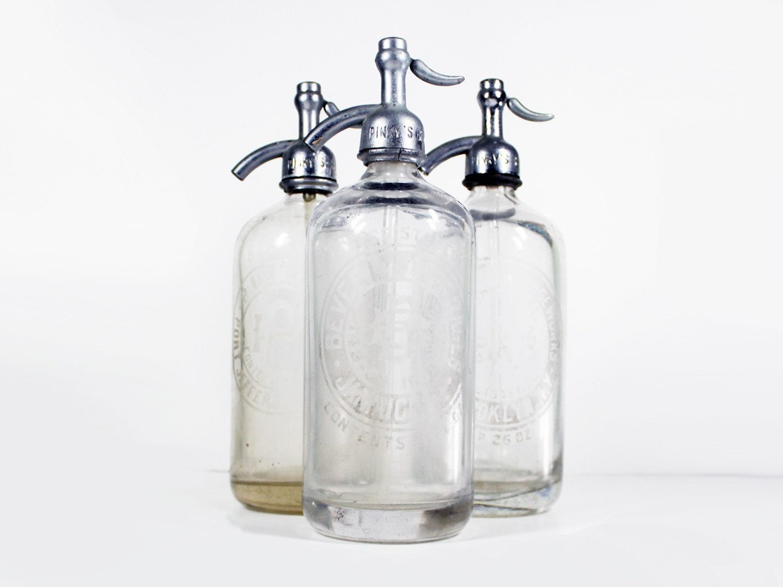 Vintage Seltzer Bottle Clear Glass