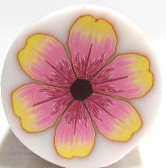 Yellow pink Polymer Clay flower cane