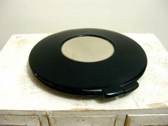 Compact Black Lucite Pressed Powder by Alice Kaye Vintage