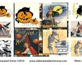 INSTANT Download Vintage Halloween iNCHieS 1x1 inch Square DIGITAL IMAGES / Sidetracked Artist Collage Sheet No.139