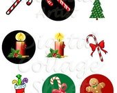 INSTANT Download Christmas Images One Inch Round DIGITAL IMAGES / Sidetracked Artist Digital Collage Sheet No. 153