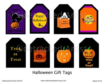 INSTANT Download / Printable Halloween Gift Tags DIGITAL IMAGES / Sidetracked Artist Set No. 145