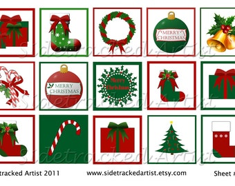 INSTANT DownloadCHRISTMAS  Designs One Inch Square DIGITAL Images / No. 219