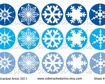 INSTANT Download Winter SNOWFLAKES White on Blue one inch round DIGITAL Images for bottle caps, magnets, jewelry / No. 220