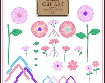 INSTANT Download / Spring Flowers 27 piece Pink Clip Art DIGITAL IMAGES Set No. 234