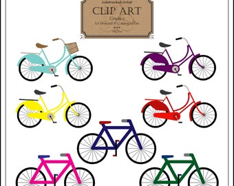 INSTANT Download Bicycles Clip Art DIGITAL IMAGES Set of 7 bicycle images No. 245