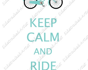 INSTANT Download Keep CALM and Ride On with Bicycle image DIGITAL Image for transfer or printable art/No. 247