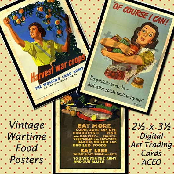 INSTANT Download / ATC ACEO Digital Images of Food Posters from both World Wars / Sidetracked Artist Collection No.137