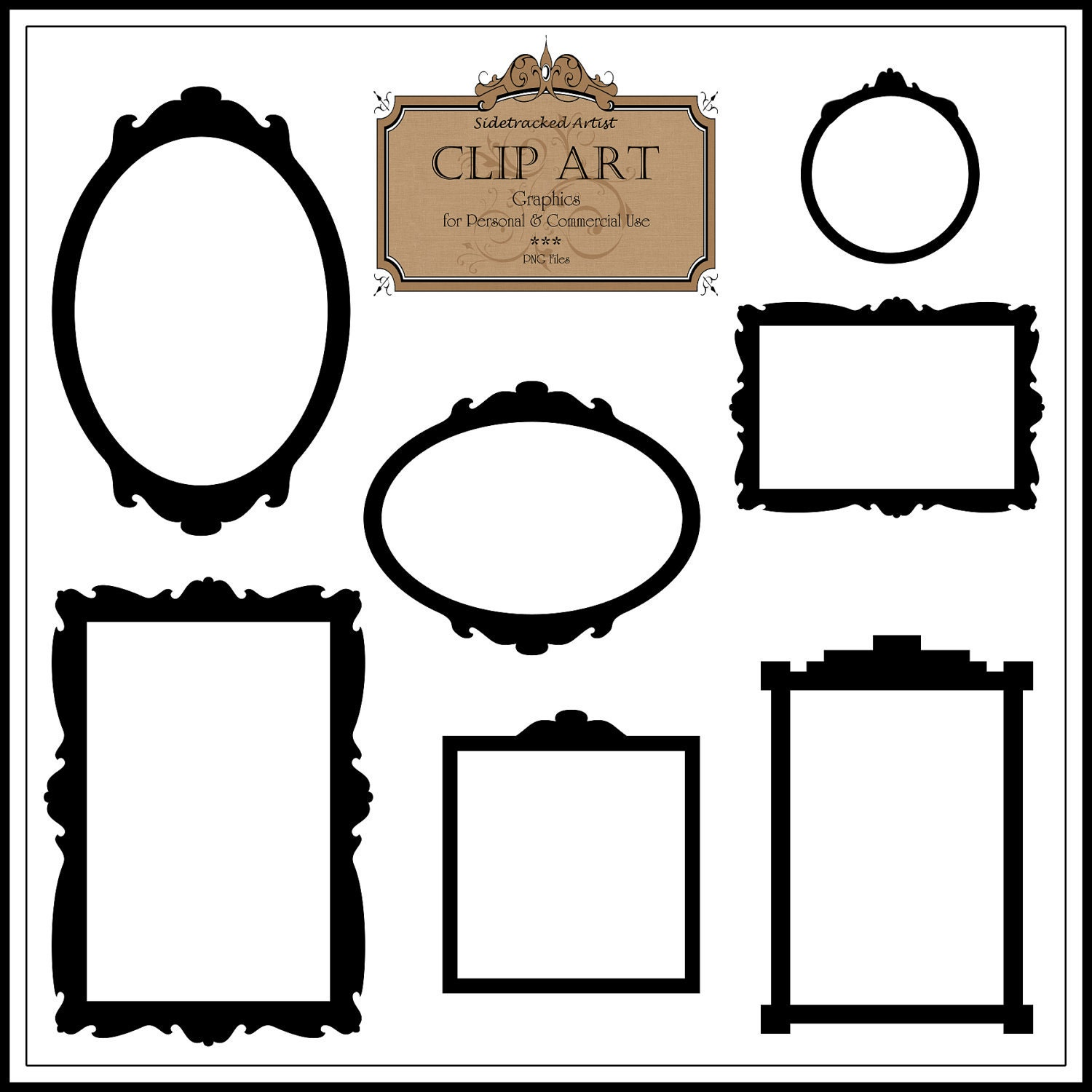 Vintage Black Frame Glasses : Instant Download / Black Vintage Style CLIP ART Frames DIGITAL