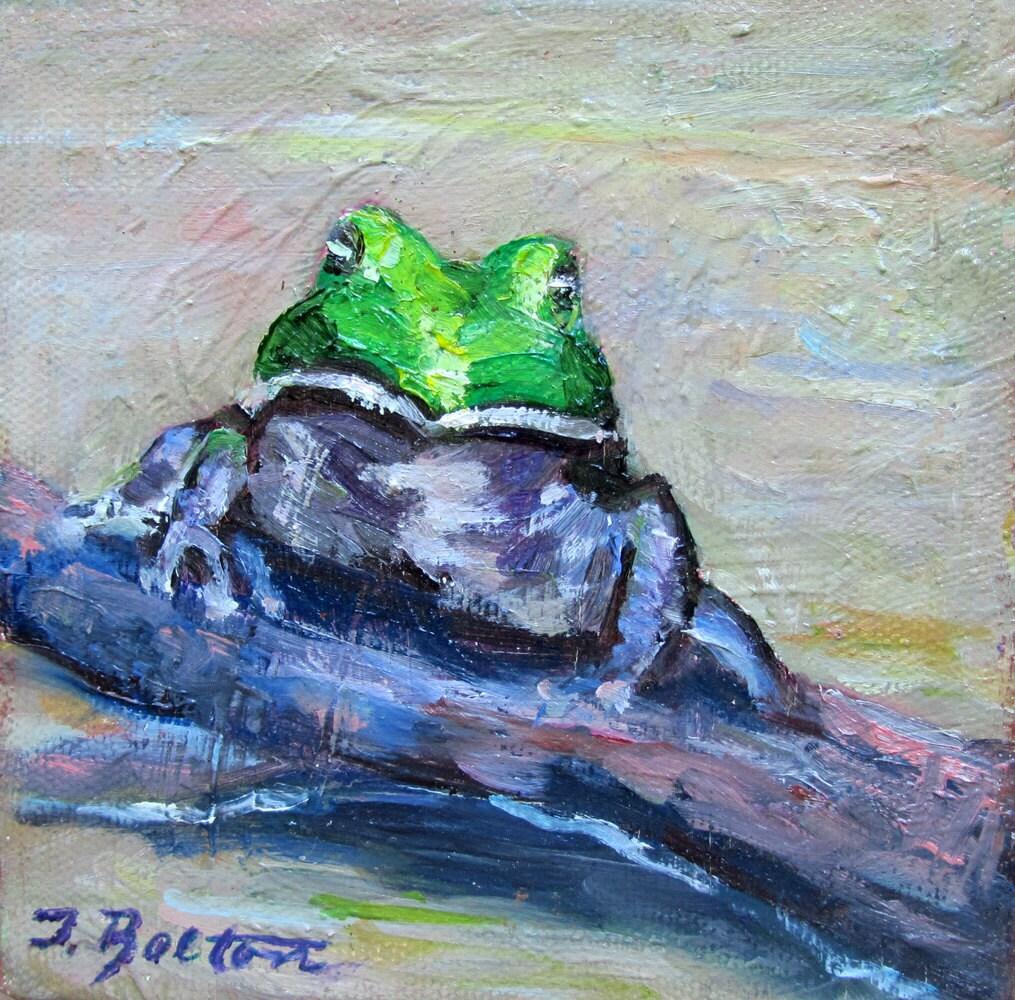 Frog Kiss Me Original Mini Oil Painting