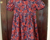 Vintage Hand Made Dress 1960s Red Blue White Floral Flowers Ladies Zippered Back Summer