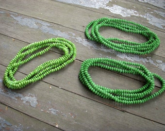 Vintage Super Long Strand of Hand Made Vintage Green Glass Beads Supplies Jewelry Making Hobbies