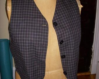 SALE Vintage Lizsport Black and Gray Plaid Vest Size 14 Ladies Women 1980s