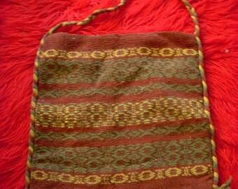 Vintage Hand Woven Wool Purse Handbag Satchel Made in Greece 1970s Hippie Boho