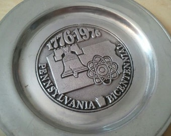 Vintage Wilton Columbia Pewter Plate or Dish Pennsylvania Bicentennial 1970s