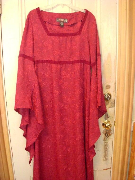 Vintage Eternal Love Burgundy Dress Size Large Bell Sleeves Wiccan Pagan Wedding Goth Renaissance