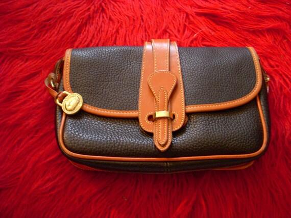Vintage Leather Dooney and Bourke Pocketbook Purse Black with Brown Trim
