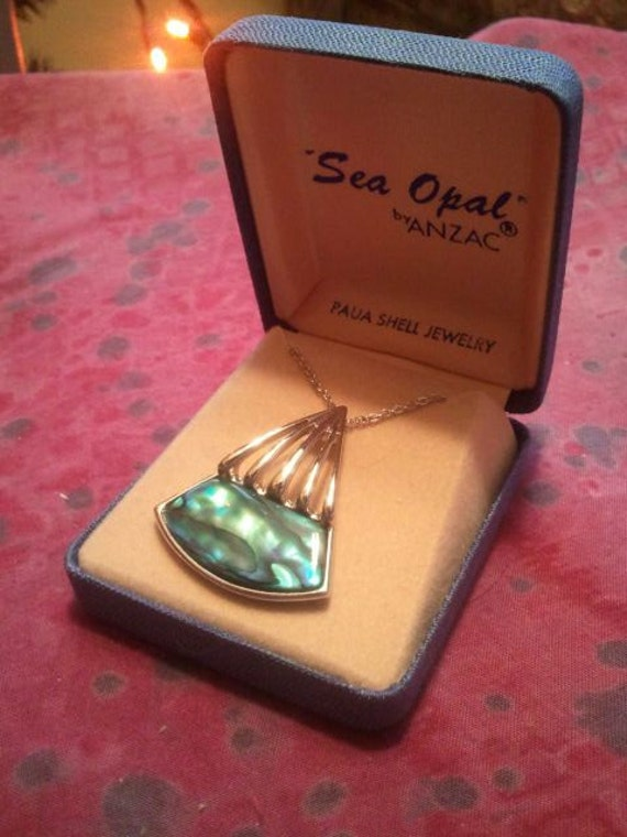 Vintage Sea Opal by Anzac Pendant and Chain Paua Shell In Original Box Never Used 1970s