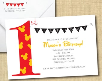 DIY Ready To Print - Mickey Mouse with Bunting, Matching Return Address (more colors available)