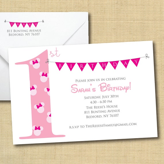 Printable Minnie Mouse Invitation with Bunting, Matching Return Address (more colors available)