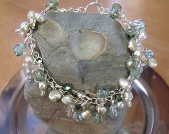 Sea Anenome Bracelet - Sterling Silver, Swarovski crystal, and freshwater pearl