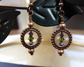 Copper Circle Earrings with Amethyst and Olivine Swarovski crystals