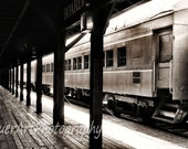 Old Sacramento's Retired Train Depot and Union Pacific Train - Northern California Fine Art Photography - 8x12 Photograph in Sepia