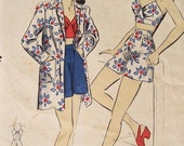Marie - 1940s WWII Era Vintage Style Pin Up 2 Piece Romper Playsuit & Beach Jacket - ALL SIZES - Custom Made