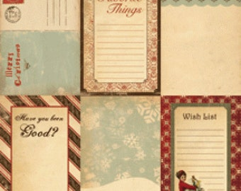 Christmas Winter Wonderland Journal Cards by Cosmo Cricket 2 packs - 12 total 4x6 double-sided cards