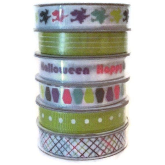 Halloween  Ribbon Set 2 by American Crafts Premium 3/8 inch grosgrain ribbon