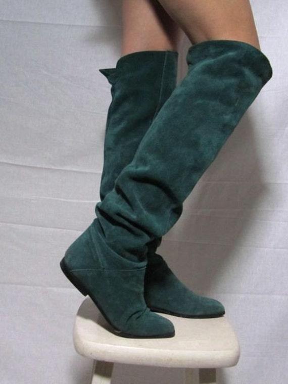 vintage teal green otk suede flat boots 6 5 on reserve