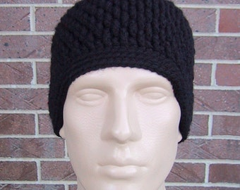 Black Beanie - Mens Hat Size Small/Medium - Hand Crocheted - Soft Acrylic Yarn - Handmade - Warm Winter Cap