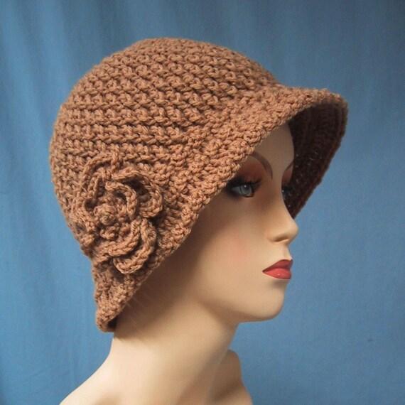 CLEARANCE 1/2 PRICE - Cloche Hat with Flower - Hand Crocheted - Soft Acrylic Yarn in Warm Tan - Handmade - Size Medium