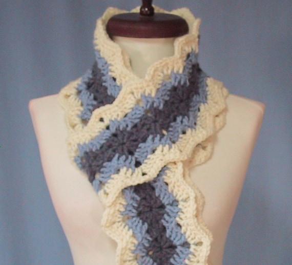 CLEARANCE PRICED - Denim Blues Long Scarf - Hand Crocheted - Soft Acrylic Yarn - Handmade