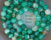 6mm Emerald Green ONYX AGATE Striped Genuine Gemstone Round Beads On Full Strand
