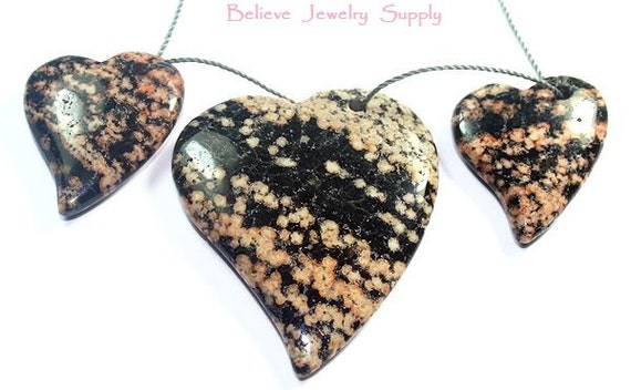 3 Piece Set Of Pink And Black JASPER Genuine Gemstone Heart Shaped Pendant And Focal Beads