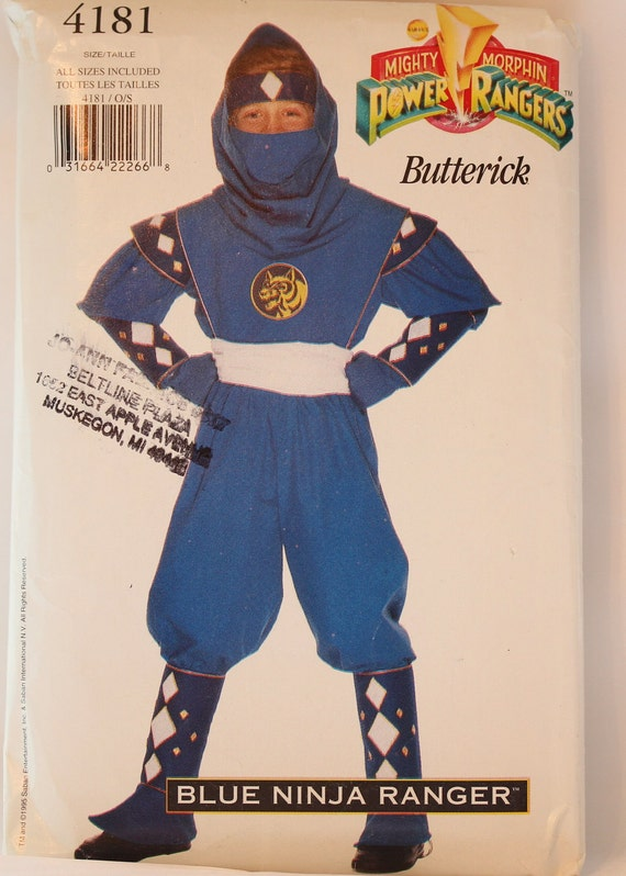 ChildsBoys  size 4T to 14 UNCUT  Mighty Morphin Power Rangers Blue Ninja Ranger Butterick 4181 Halloween Costume Sewing Pattern