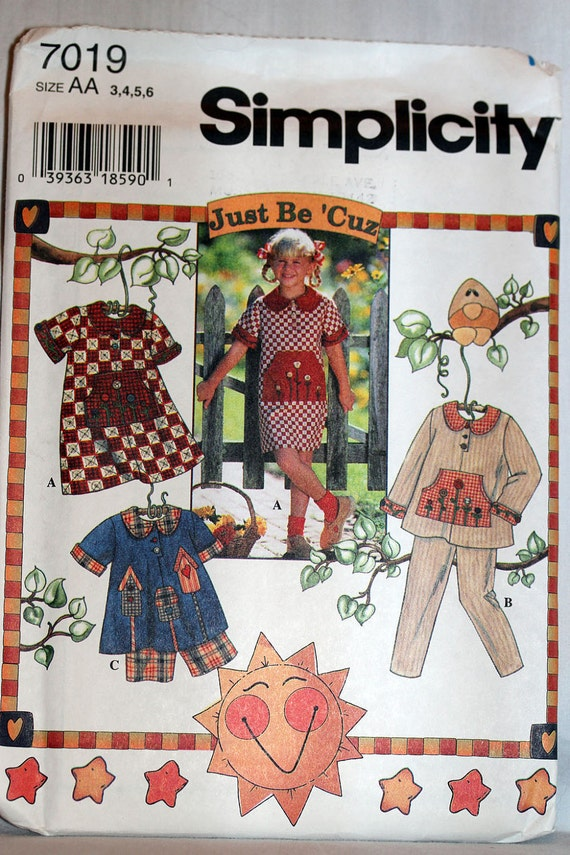 UNCUT Simplicity 7019 Girl Toddler Size 2 3 4 5 6  Just Be 'Cuz Dress Pants Shorts   Sewing Pattern