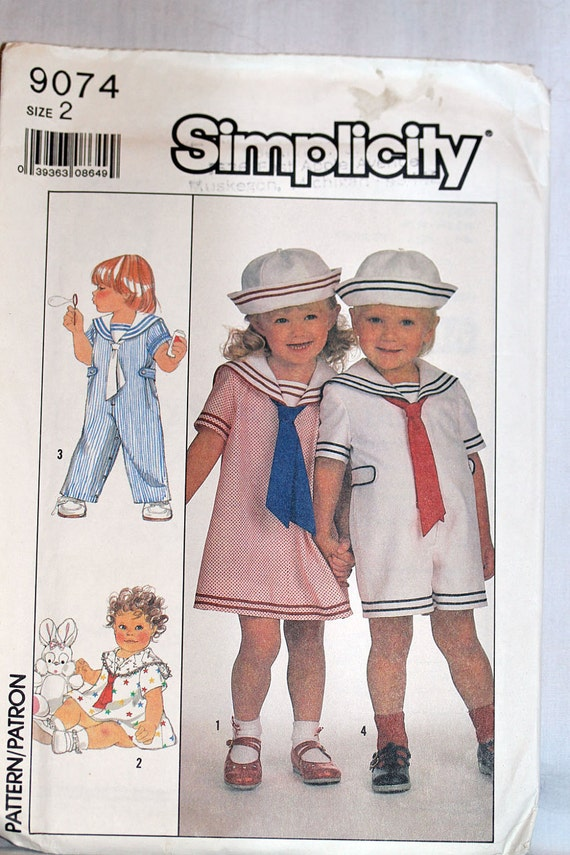 UNCUT Simplicity 9074 Size 2 2T Sailor Overalls in 2 Legths Dress and Hat Child Baby TOddler Boy GIrl Kids  Sewing Pattern