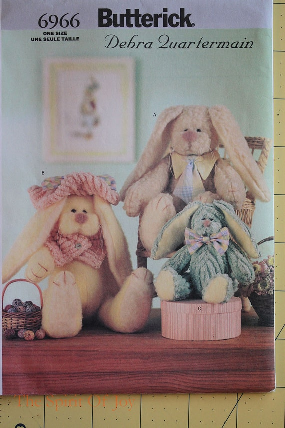"""Uncut  15"""" and 9"""" Stuffed Rabbits  Butterick 6966  O'hare Family Bunny By Debra Quartermain  Sewing Pattern"""