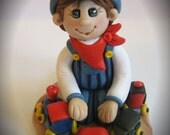 Polymer Clay Train Conductor and Train Birthday Cake Topper - trinasclaycreations