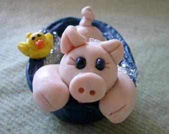 Polymer Clay Pig In A Bathtub