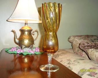 CANDLE HOLDER Vintage Amber Glass Hobnail