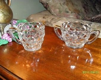 Cubist Glass Creamer and Sugar Set