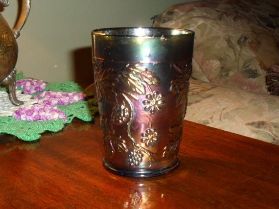 RESERVED Fenton Blue Carnival Glass Grape and Floral Tumbler