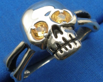 Yellow Sapphire Skull and Cross Bones Ring, Hand Crafted Recycled Sterling Silver, handmade Jolly Roger, crossed bones