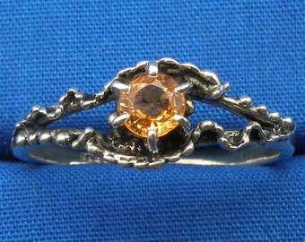 Mythological Stone Protector Ring, Natural Yellow Orange Songea Sapphire Hand Crafted Sterling Silver handmade November September birthstone