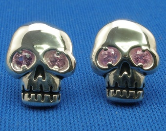 Skull Earrings, Pink Sapphire, Hand Crafted Sterling Silver, post stud earrings