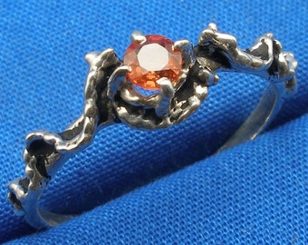 Mythological Stone Protector Critters, Natural Orange Yellow Sapphire, Hand Crafted Sterling  Ring