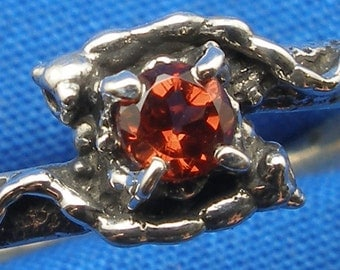Garnet Mythological Stone Protector Critters ring, recycled Sterling Silver, January birthstone